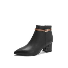 Belle/百丽2018冬专柜新款荔纹小牛皮革尖头女及踝靴BYN45DD8