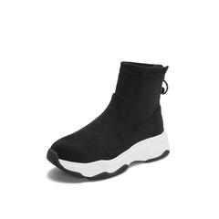 Belle/百丽2018冬季专柜新款弹力绒布厚底运动风弹力靴女短靴BC146DD8