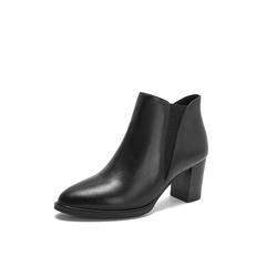 Belle/百丽2018冬季专柜新款油皮牛皮革切尔西靴女短靴BUL46DD8