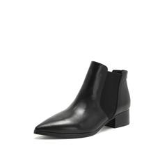 Belle/百丽2018冬专柜新款牛皮革切尔西靴方跟女短靴BB841DD8