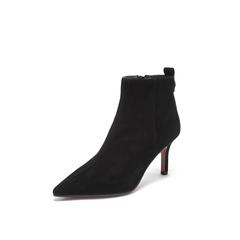 Belle/百丽瘦瘦靴2018冬专柜新款羊绒皮革细高跟女短靴BA346DD8