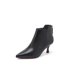Belle/百丽2018冬专柜新款小牛皮革尖头细跟优雅女及踝靴BA547DD8
