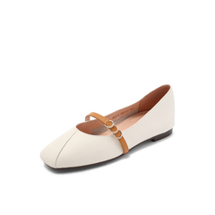Belle/百丽专柜同款米/棕荔牛皮革玛丽珍方头女皮鞋BYY12CQ8