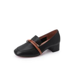 Belle/百丽2018秋专柜新款黑色牛皮革乐福鞋女单鞋S9P1DCM8