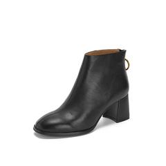 Belle/百丽2018冬专柜新款牛皮革粗跟简约女短靴T1F1DDD8