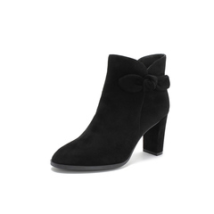 Belle/百丽2018冬专柜新款羊绒皮革粗跟女短靴(单里)T1C1DDD8