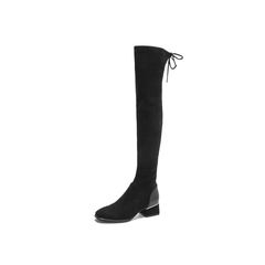 Belle/百丽2018冬季专柜新款绒布/羊皮革女过膝靴S9X1DDC8