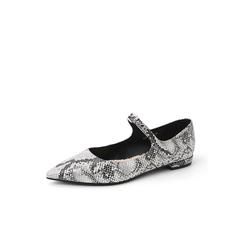 Belle/百丽2018秋新款黑灰蛇纹牛皮革玛丽珍鞋女单鞋BSW16CQ8