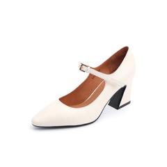 Belle/百丽2018秋新款米色荔牛皮革玛丽珍鞋女单鞋BF201CQ8