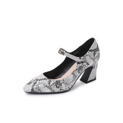 Belle/百丽2018秋新款蛇纹牛皮革玛丽珍鞋女单鞋BF201CQ8