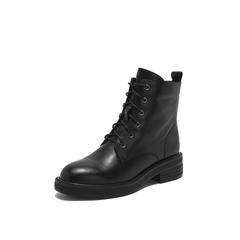 Belle/百丽2018冬专柜新款牛皮革女短靴马丁靴(绒里)T1W1DDD8