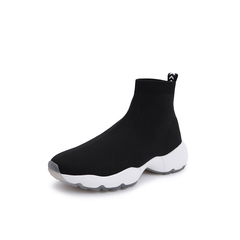 Belle/百丽2018冬季专柜新款针织帮面休闲袜靴女短靴BD540DD8