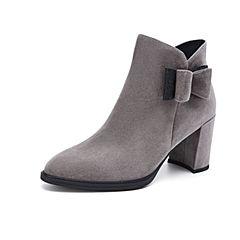 Belle/百丽2018冬新款羊绒皮革蝴蝶结侧拉链女短靴BUL48DD8