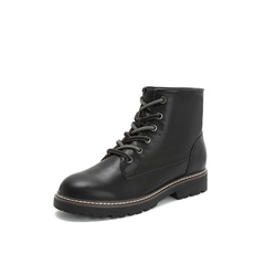 Belle/百丽2018冬新款黑色牛皮革女短靴马丁靴13839DD8