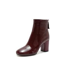 Belle/百丽2018冬季专柜新款漆牛皮革粗跟女皮靴20183DD8