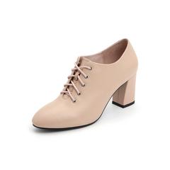 Belle/百丽牛皮革粗高跟圆头系带深口女皮鞋18685DM8