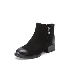 Belle/百丽2018冬季新款黑绒里磨砂羊皮革侧拉链女及踝靴06735DD8