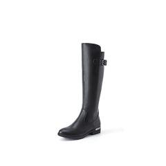 Belle/百丽2018冬季新款黑色牛皮革/人造革女过膝鞋31196DG8