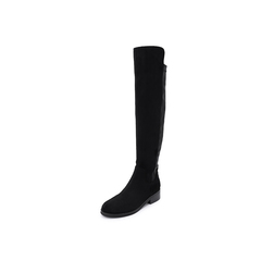 Belle/百丽瘦瘦靴2018冬季新款黑色弹力绒布女过膝靴80322DC8