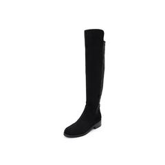 Belle/百丽瘦瘦靴2018冬季新款黑色弹力绒布女长靴80322DC8