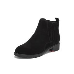 Belle/百丽2018冬季专柜新款黑薄绒里牛剖层皮革女皮短靴T2J2DDD8