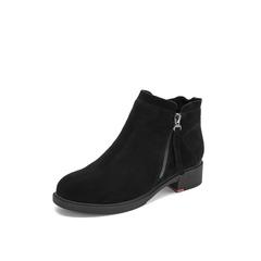Belle/百丽2018冬季专柜新款黑薄绒里牛剖层皮革侧拉链女皮短靴T2J1DDD8