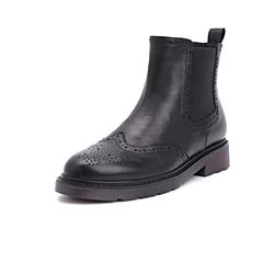 Belle/百丽2018冬季专柜新款羊皮革切尔西靴女短靴S9T1DDD8