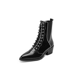 Belle/百丽2018冬专柜新款光牛皮革潮酷西部靴马丁靴BA662DZ8