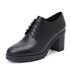 Belle/百丽2018秋专柜新款油皮牛皮革粗高跟英伦风女单鞋BB320CM8