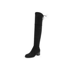 Belle/百丽瘦瘦靴2018冬季新款黑色弹力绒布粗跟圆头过膝靴82868DC8