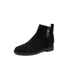 Belle/百丽2018冬专柜新款羊绒皮革女及踝靴T2X1DDD8