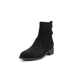 Belle/百丽2018冬专柜新款弹力布女中靴T2W1DDZ8