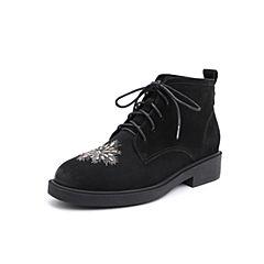 Belle/百丽2018冬专柜新款磨砂羊皮革女及踝靴(薄绒里)T3A1DDD8