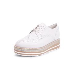 Belle/百丽牛皮革雕花布洛克厚底松糕鞋女单鞋BAZA3CM8