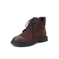 Belle/百丽2018冬季专柜新款磨砂羊皮革马丁靴女短靴(绒里)T3V1DDD8