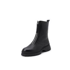 belle/百丽马丁靴2018冬季新款摔纹牛皮革前拉链女皮靴88813DZ8