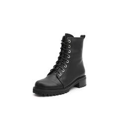 Belle/百丽2018冬季新款牛皮革马丁靴粗跟潮酷女短靴10081DD8
