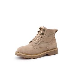 Belle/百丽马丁靴2018冬季专柜新款牛剖层皮革/布女皮靴T4Z1DDD8