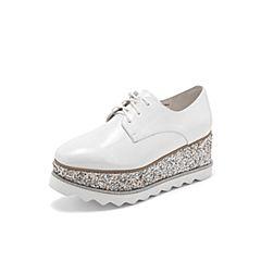 Belle/百丽厚底英伦风松糕鞋2019春季新漆牛皮革满帮女单鞋BNTA2AM9