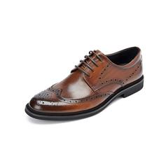 Belle/百丽婚鞋2019早春新款棕色牛皮革商务德比鞋男皮鞋89183AM9
