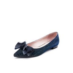 Belle/百丽单鞋2019春新弹力亮线布尖头蝴蝶结低跟女浅口鞋BSWA9AQ9
