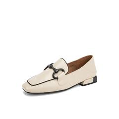 Belle/百丽乐福鞋2019春季新款米白牛皮革低跟方头复古女单鞋BK320AM9