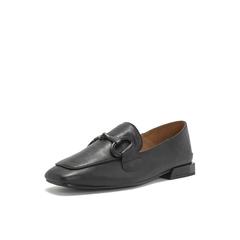 Belle/百丽乐福鞋2019春季新款黑色?#25512;?#29275;皮革低跟方头复古女单鞋BK320AM9