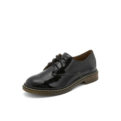 Belle/百丽英伦风皱漆单鞋2019春季商场同款新黑色牛皮革女皮鞋BQ520AM9