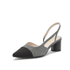 Belle/百丽款凉鞋2019春新专柜同款亮片布女粗跟女鞋BK534AH9