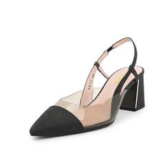 Belle/百丽2019年春季新商场同款亮片PU/亮片布粗高跟女凉鞋BQ330AH9