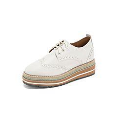 Belle/百丽英伦布洛克风松糕鞋2019春季商场新款白色牛皮革女厚底单鞋BAZA8AM9