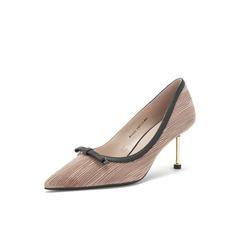 Belle/百丽2019春新专柜同款皱纹布/羊皮革女皮鞋BVAA5AQ9