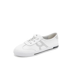 Belle/百丽彩色运动风小白鞋2019春商场同款新牛皮革女休闲平底板鞋BM624AM9