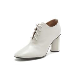 Belle/百丽高跟鞋2019春商场同款?#36718;?#28422;牛皮革英伦风粗跟女单鞋BP820AM9